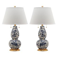 Safavieh 2-piece Color Swirls Glass Table Lamp Set