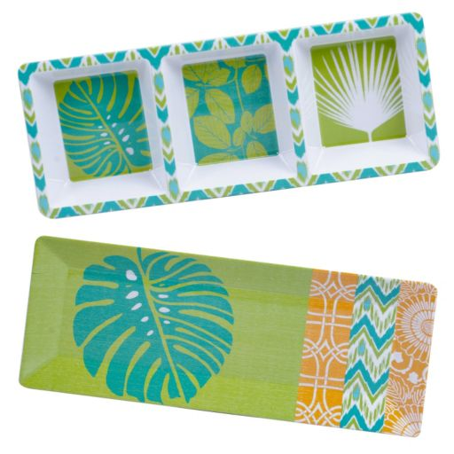 Certified International Paradise by Suzanne Nicoll 2-pc. Melamine Appetizer Platter & Relish Tray Set