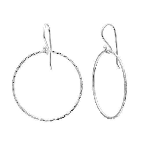 Sterling Silver Textured Hoop Drop Earrings