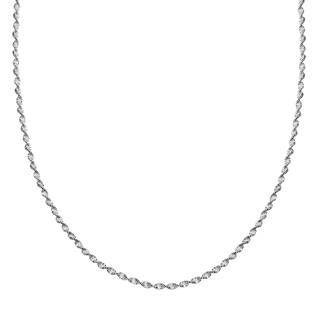 Sterling Silver Butterfly Twist Chain Necklace - 30 in.