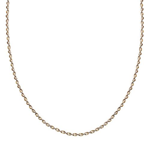 Sterling Silver Two Tone Butterfly Twist Chain Necklace - 30 in.