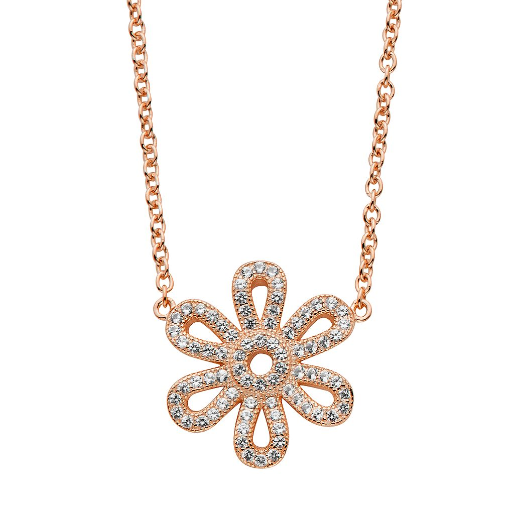 Lab-Created White Sapphire 14k Gold Over Silver Flower Necklace