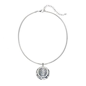 Napier Textured Circle Pendant Necklace
