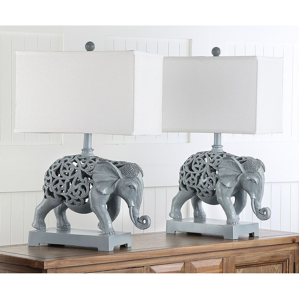 Safavieh 2-piece Hathi Sculpture Table Lamp Set