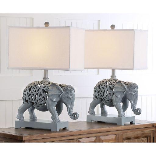 Safavieh 2-piece Hathi Sculpture Table Lamp Set