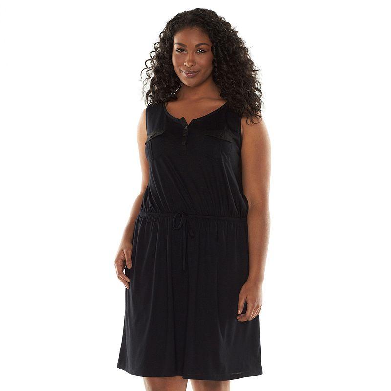 SONOMA life + style Chevron Splitneck Dress - Women's Plus Size (Black)