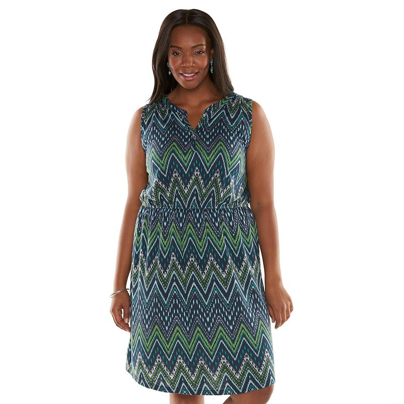 SONOMA life + style Chevron Splitneck Dress - Women's Plus Size (Blue)