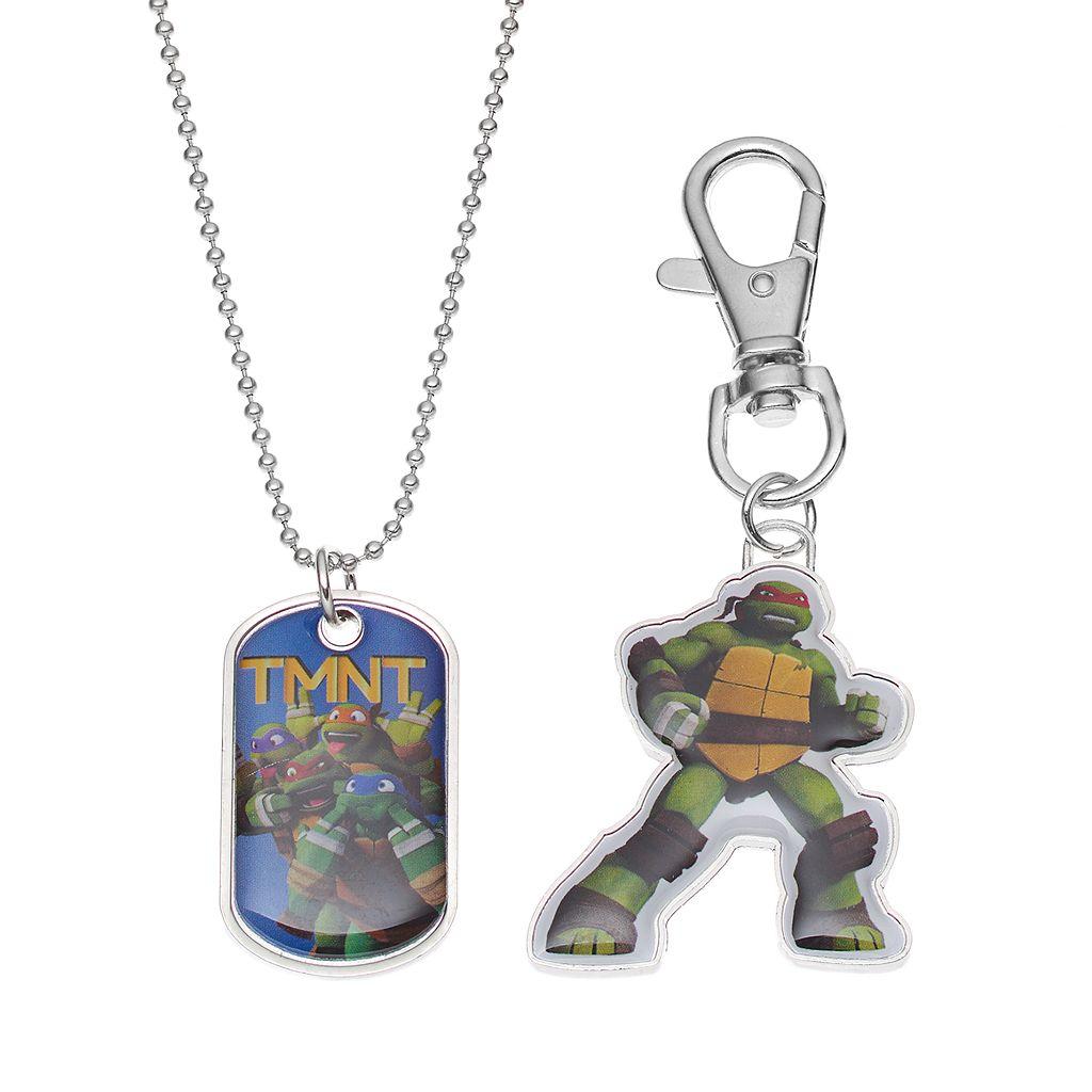 Teenage Mutant Ninja Turtles Kids Dog Tag Necklace, Key Chain & Keepsake Tin Set