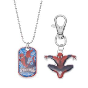 Marvel Ultimate Spider-Man Kids Dog Tag Necklace, Key Chain & Keepsake Tin Set