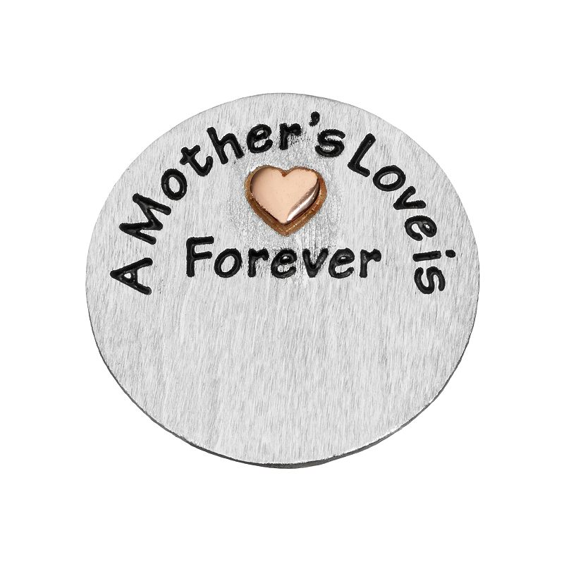 """Blue La Rue Silver-Plated & 14k Rose Gold-Plated """"Mother's Love"""" Coin Charm, Women's, Grey"""