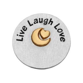 "Blue La Rue Silver-Plated & 14k Gold-Plated ""Live Laugh Love"" Coin Charm"