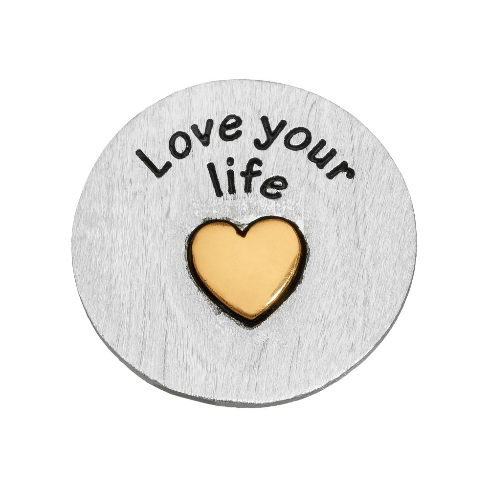 """Blue La Rue Silver-Plated & 14k Gold-Plated """"Love Your Life"""" Coin Charm"""