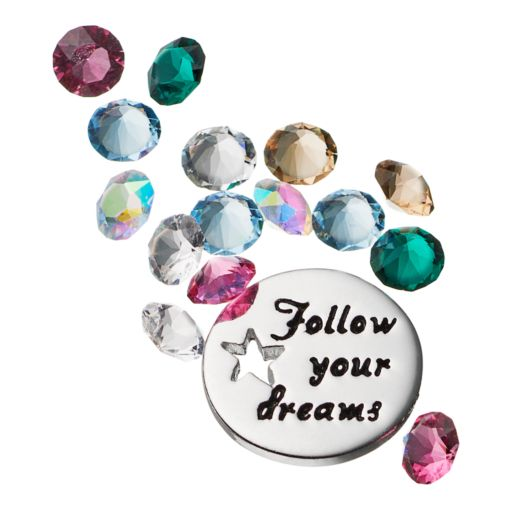 """Blue La Rue Crystal Silver-Plated """"Follow Your Dreams"""" Charm Set - Made with Swarovski Crystals"""