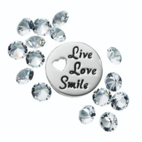 "Blue La Rue Crystal Silver-Plated ""Live Love Smile"" Charm Set - Made with Swarovski Crystals"