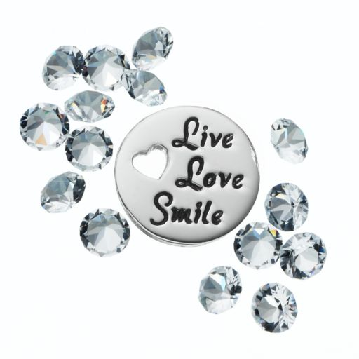 """Blue La Rue Crystal Silver-Plated """"Live Love Smile"""" Charm Set - Made with Swarovski Crystals"""