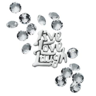 """Blue La Rue Crystal Silver-Plated """"Live Laugh Love"""" Charm Set - Made with Swarovski Crystals"""