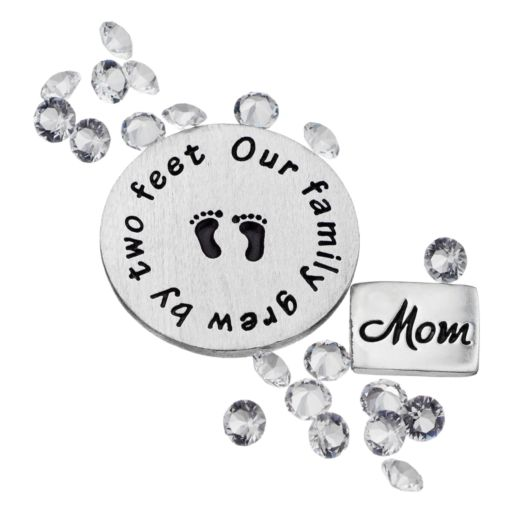 "Blue La Rue Crystal Silver-Plated ""Mom"" & ""Family"" Charm Set - Made with Swarovski Crystals"