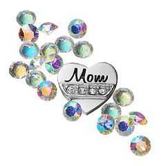 Blue La Rue Crystal Silver-Plated 'Mom' Charm Set - Made with Swarovski Crystals