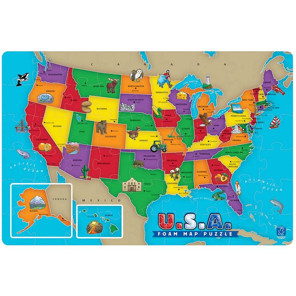 Educational Insights USA Foam Map Puzzle