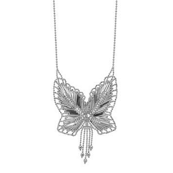 Sterling Silver Beaded Butterfly Necklace