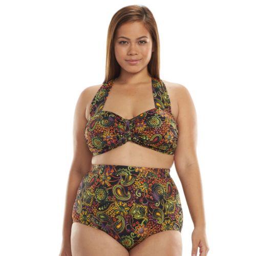 A Shore Fit Halter Bikini Top & Scoop Bottom Swim Set - Women's