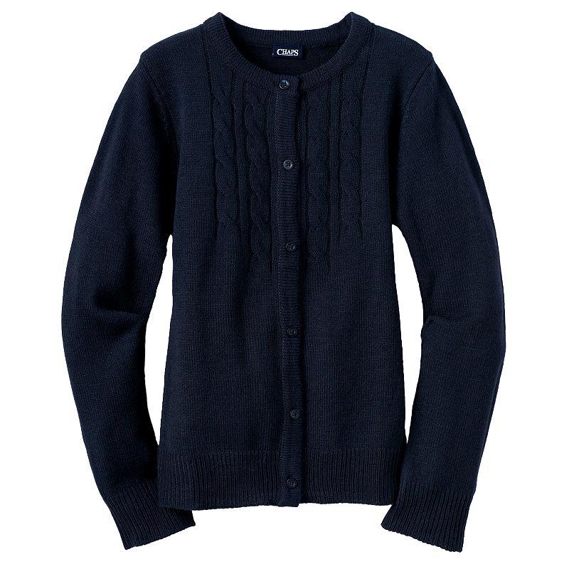 Girls 4-6x Chaps School Uniform Cable-Knit Cardigan