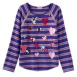 Design 365 Sequin Heart Stripe Tee - Girls 4-6x