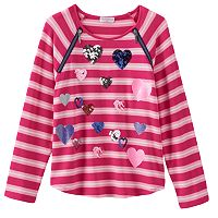 Design 365 Sequin Heart Stripe Tee - Girls 4-6x