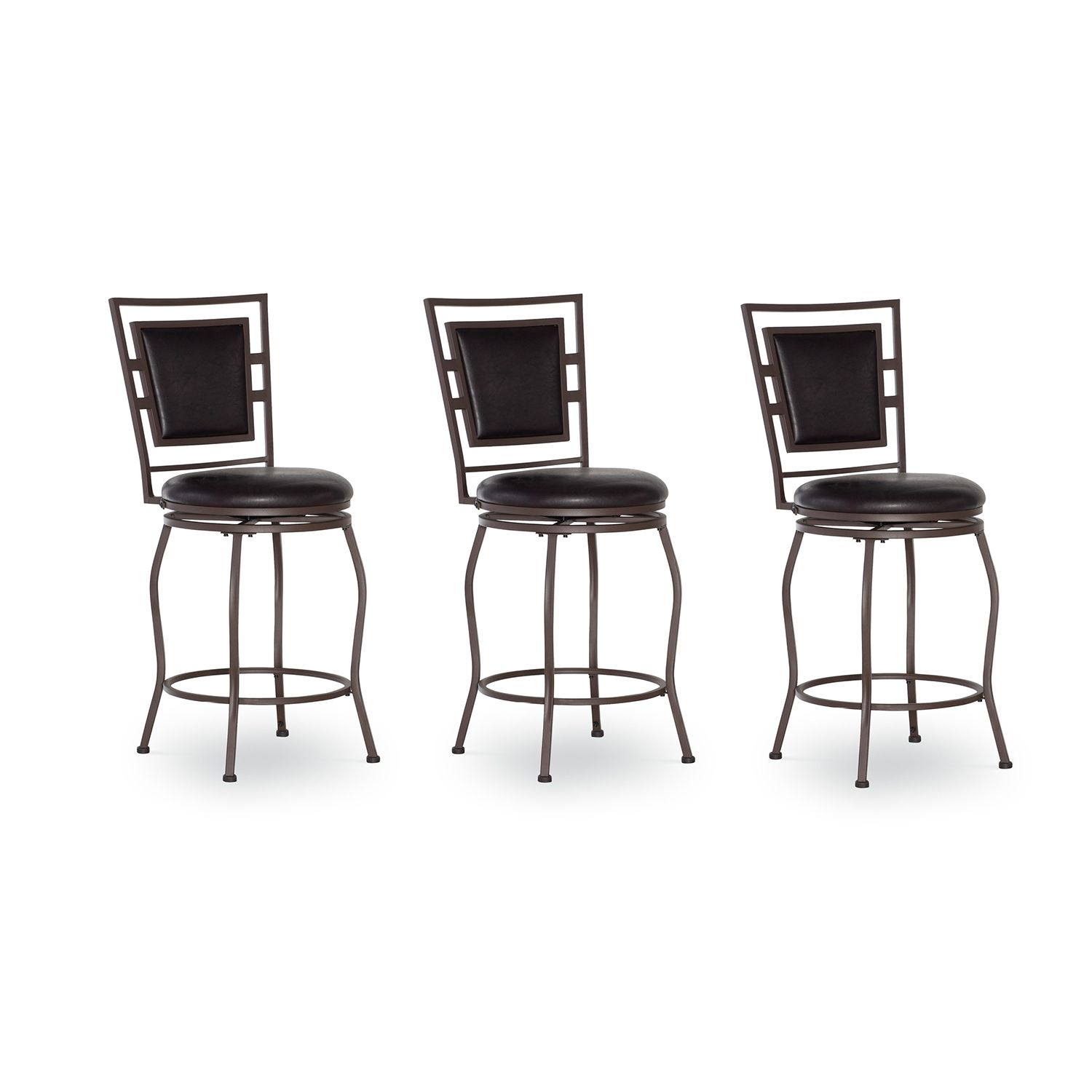 Linon Townsend 3 Piece Adjustable Stool Set