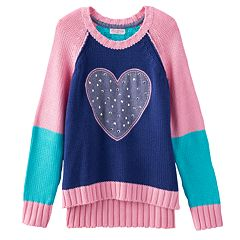 Design 365 Heart High-Low Sweater - Girls 4-6x