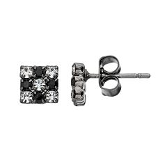 Duchess of Dazzle Crystal Jet Tone Square Stud Earrings
