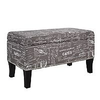 Linon Stephanie Script Print Storage Ottoman