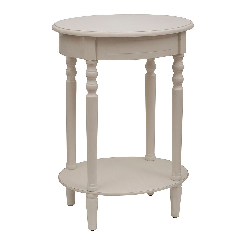Decor Therapy Simplify Neutral Oval End Table