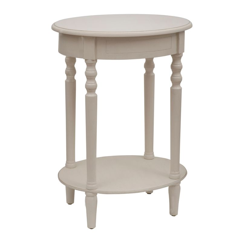 Decor Therapy Simplify Neutral Oval End Table, White