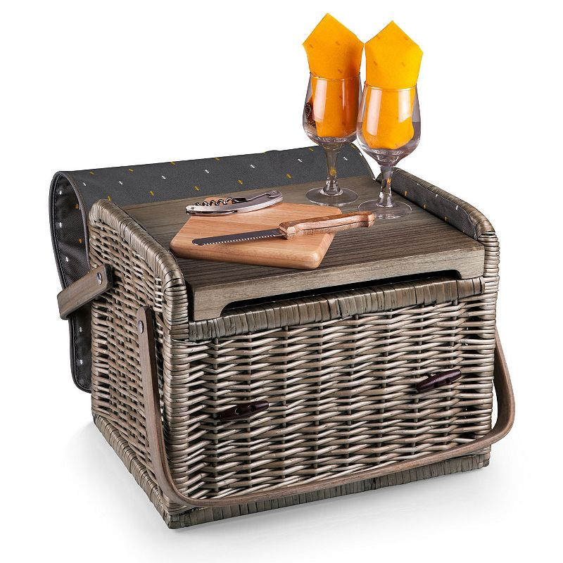 Picnic Time Kabrio Service for Two Wine & Cheese Basket Set, Grey