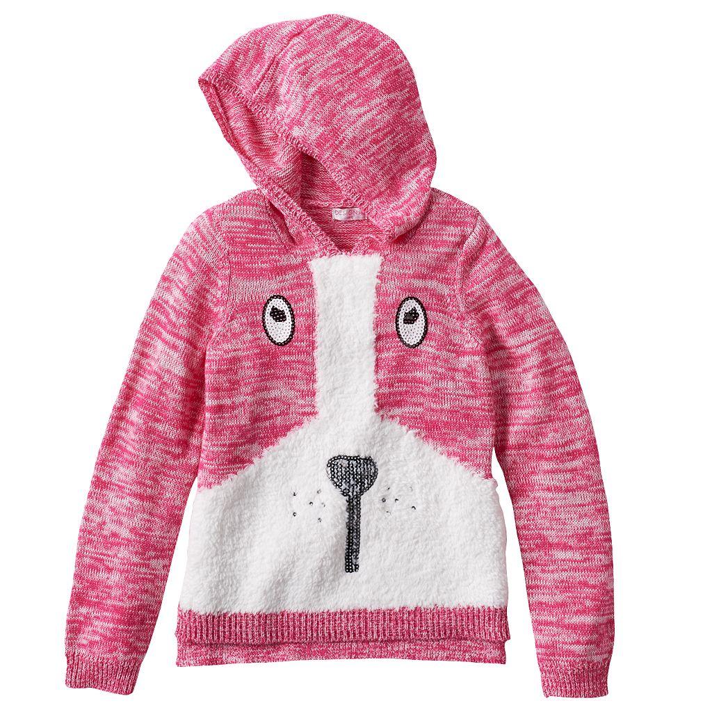 Design 365 Puppy Marled Sweater Hoodie - Toddler Girl