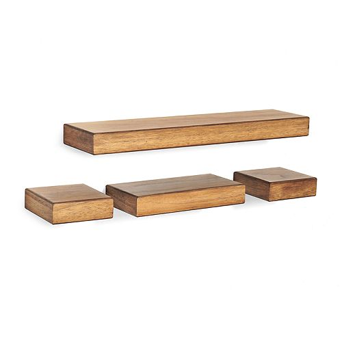 Melannco 4-piece Chunky Wood Wall Ledge Set