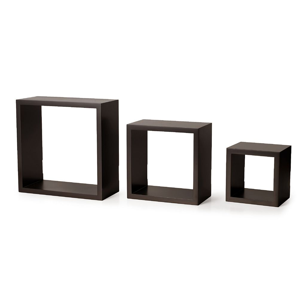 Melannco 3-piece Square Wood Wall Shelves Set