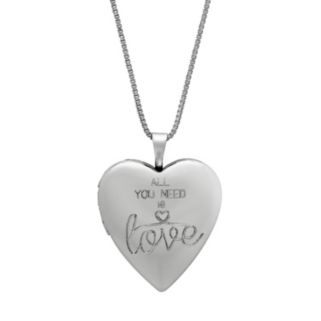 "Treasured Moments Sterling Silver ""All You Need Is Love"" Heart Locket"