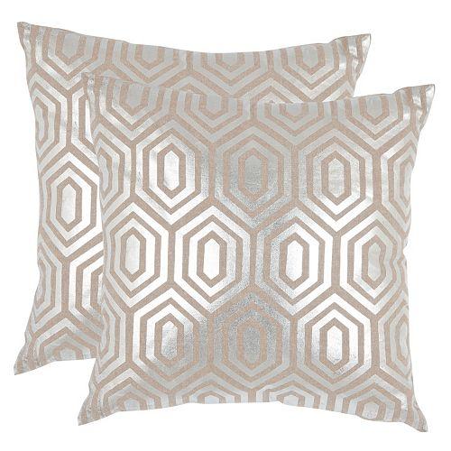 Safavieh Geometric Metallic 2-piece Throw Pillow Set