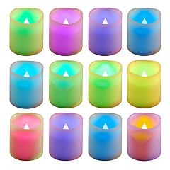 LumaBase 12 pc Color-Changing LED Flameless Votive Candle Set