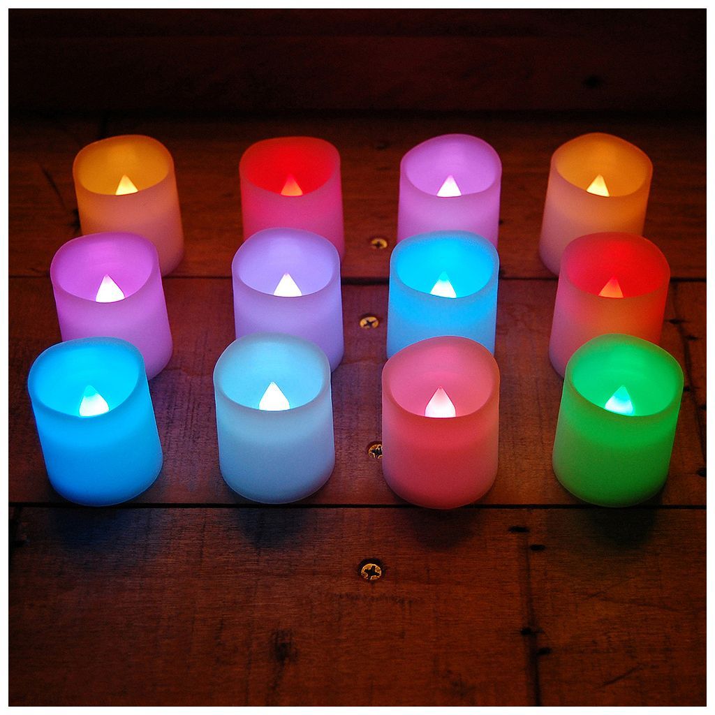 LumaBase 12-piece Color-Changing LED Flameless Votive Candle Set