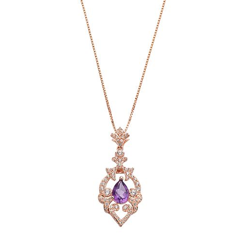 Sterling Silver Amethyst & Lab-Created White Sapphire Filigree Pendant Necklace
