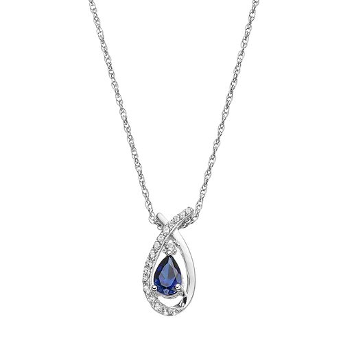 Sterling Silver Lab-Created Blue & White Sapphire Teardrop Pendant Necklace