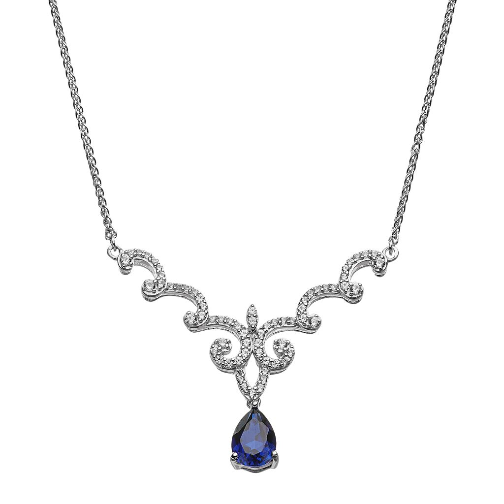 Sterling Silver Lab-Created Blue & White Sapphire Twist Necklace