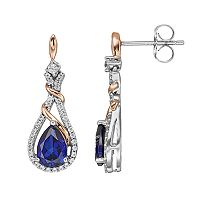 Two Tone Sterling Silver Lab-Created Blue & White Sapphire Teardrop Earrings