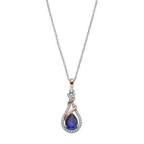 Sterling Silver Lab-Created Blue & White Sapphire Teardrop Halo Pendant Necklace