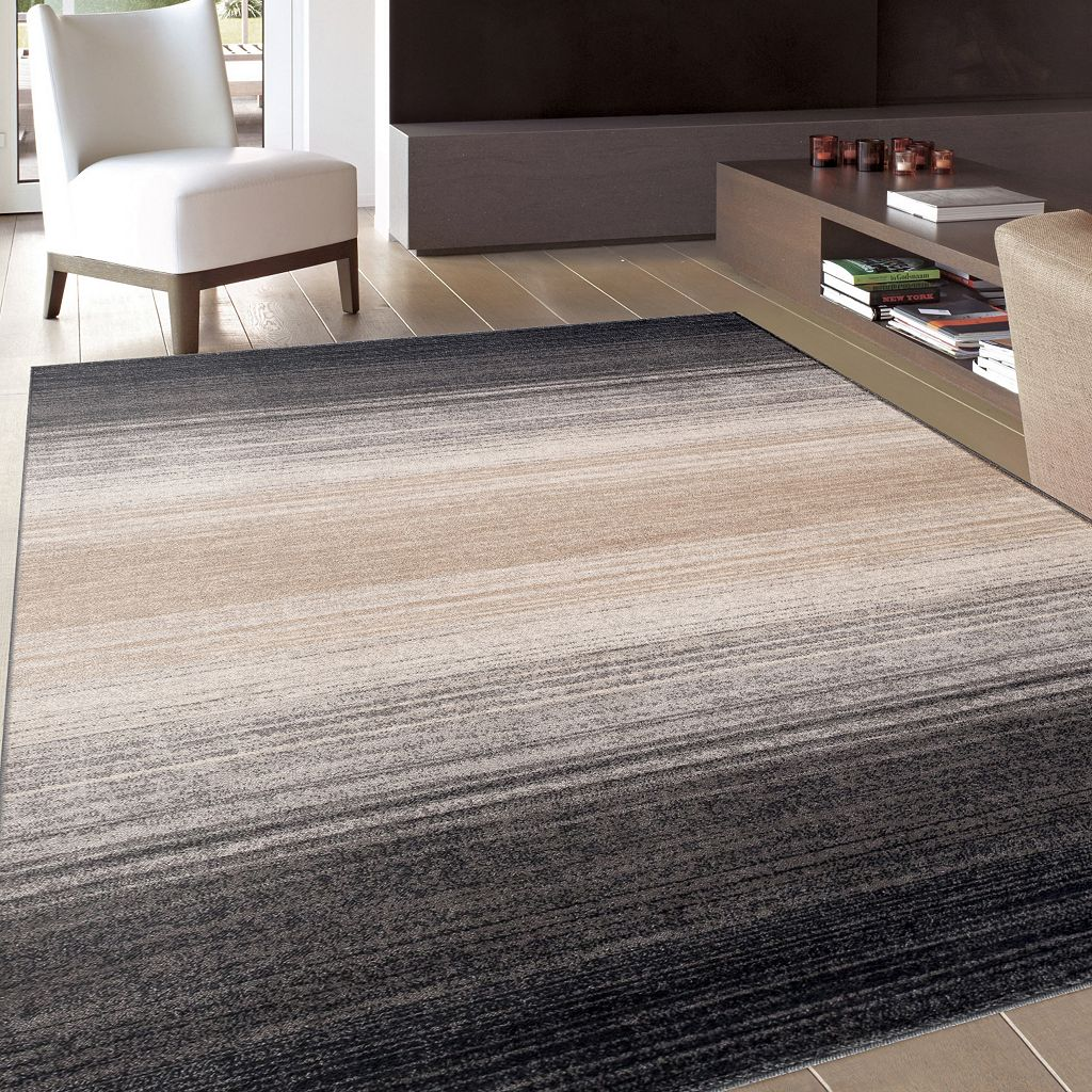 World Rug Gallery Quick Silver Striped Rug