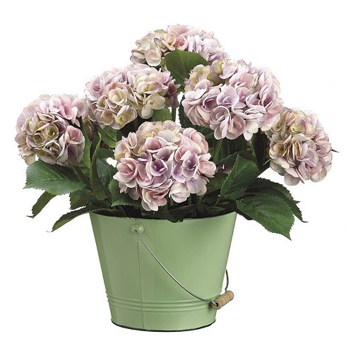 Hydrangea & Tin Bucket Artificial Flower Arrangement