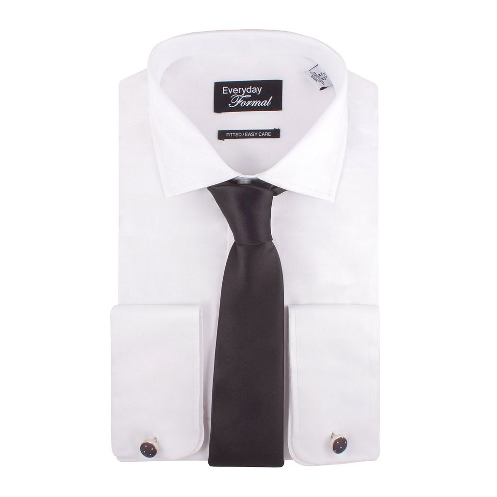 Men's Nick Dunn Fitted Easy-Care Dress Shirt & Tie Set